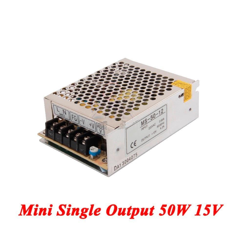 MS-50-15 Mini fuente de alimentación conmutada 50 W 15 V 3A, Salida Única smps para el conductor del Led, convertidor de voltaje AC 110 v/220 v a DC 15 v