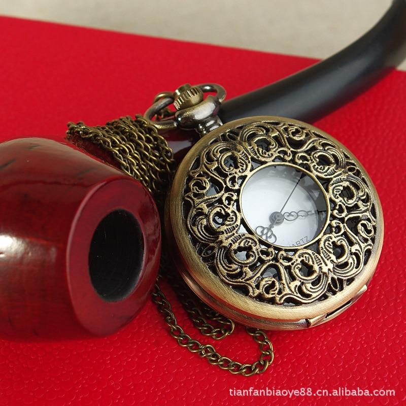 Moda nova grande oca grande e velho flor relógio de bolso retro enrolamento flor relógio de bolso com colar