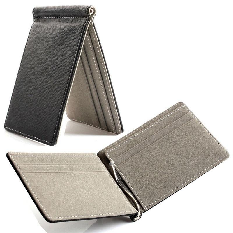 TFTP Faux Leather Men Wallet Money Clip Contract Color Simple Design Burnished Brand Men Bifold Wallets Grey