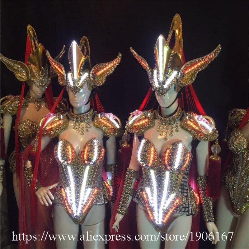 Modelos de pasarela de estilo chino, vestido Led luminoso, traje de salón LED, DJ, club nocturno, evento, fiesta, Ropa de baile