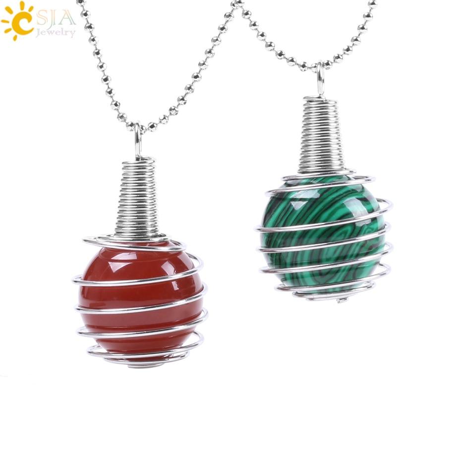 CSJA divertido collar de jaula de linterna espiral hueco colgante para Reiki Chakra cuenta de piedra preciosa redonda Natural para Mujeres Hombres joyería regalo F056