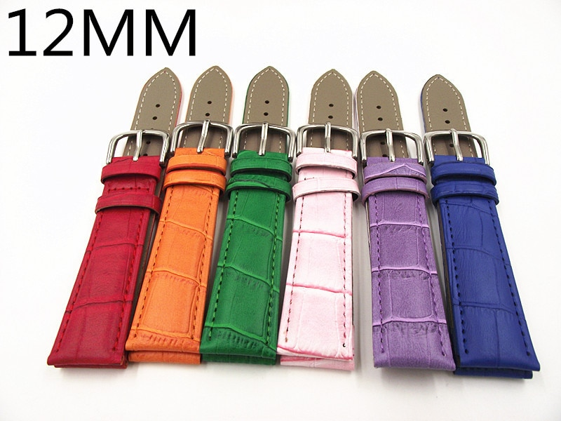 1 Uds. Correa de reloj de cuero genuino de alta calidad de 12MM correa de reloj de pulsera para mujer rosa azul o naranja verde púrpura rojo color-WBGL010