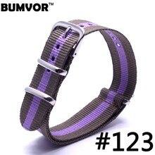 20mm largeur violet marron rayure Nylon bracelet bracelet de montre toile tissu acier boucle hommes militaire Sport bracelet de montre
