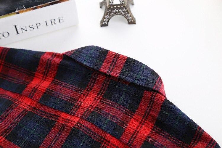 2016 Moda Plaid Shirt Kobiet College style damskie Bluzki Z Długim Rękawem Koszula Flanelowa Plus Rozmiar Bawełna Blusas Biuro topy 47