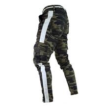 Männer Military Arbeit Cargo Camo Kampf Plus Größe Hose Seiten Streifen Hüfte Pop Art Street Hosen Casual Camouflage streetw