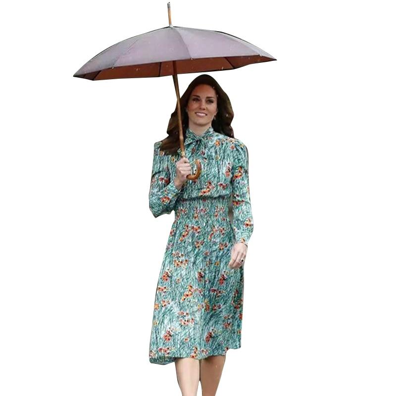 Princess Kate Middleton Dress 2020 Woman Dress Long Sleeve Bow Printed Slim Waist Elegant Dresses Work Wear NPD0173