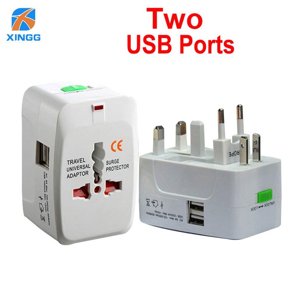 Универсальный Электрический адаптер переменного тока, 2 usb-порта, дорожный адаптер для зарядного устройства с вилкой Стандарта Великобритании, ЕС, США, Австралии