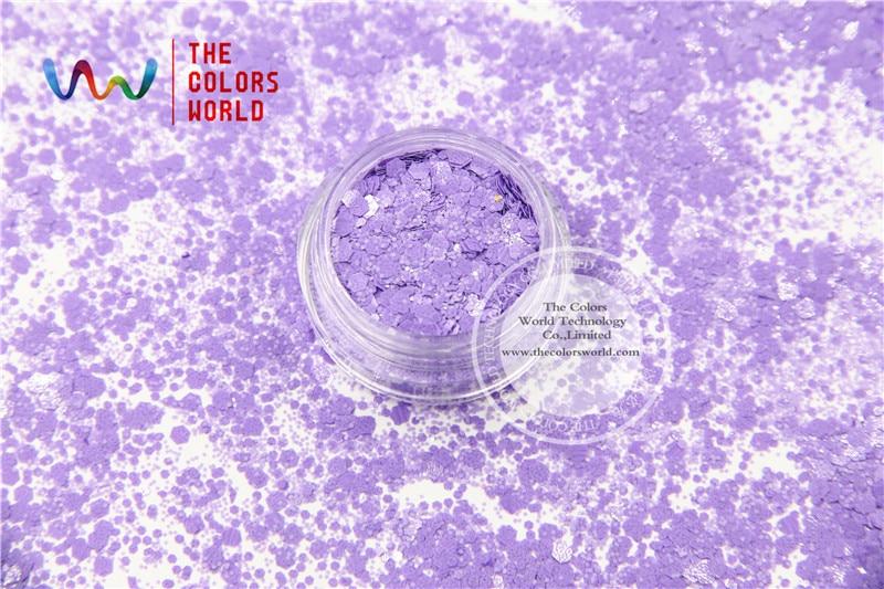 TCH308-H1 Violet Colors Mixed Hexagon Shape Solvent resistant Glitter Sequins for nail art  nail gel DIY decoration