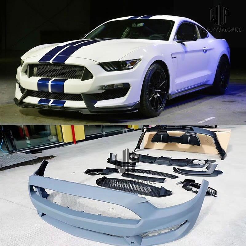 Kit de carrocería de coche GT350 FRP sin pintar, difusor trasero de parachoques delantero para Ford Mustang GT350, kit de carrocería 15-17