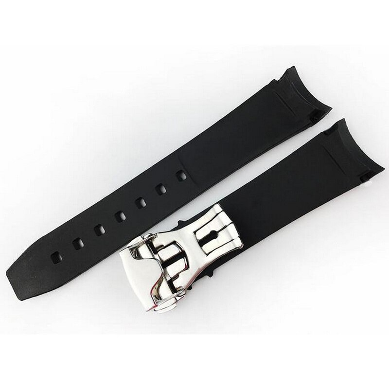 Купить с кэшбэком Rubber Strap Waterproof  Curved End Watch Band for Omega Seamaster Planet Ocean Speedmaster De Ville 20mm 21mm Butterfly Clasp