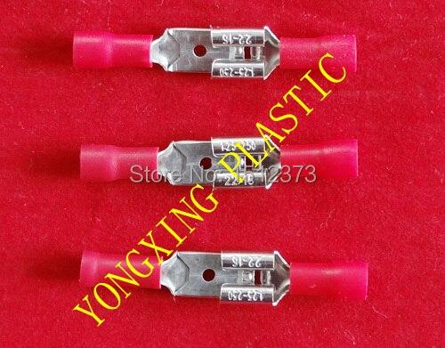 200 piece/lot  pre-insulating crimp terminal block 100PCS male MDD1-250+100PCS female FDD1-250  22-18AWG (0.75-1.5mm) square