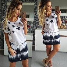 Hot Plus Size Vrouwen Zomer Jurk Zoete Strand 5 Sterren Geleidelijke Print Blauw Zwarte Jurken Mode Elastische Taille Mini Jurk vrouwen 2XL