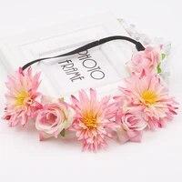 flower girl halo flowers crown bridal floral headband wreath headband wedding romantic rose peony hair accessories bridesmaid