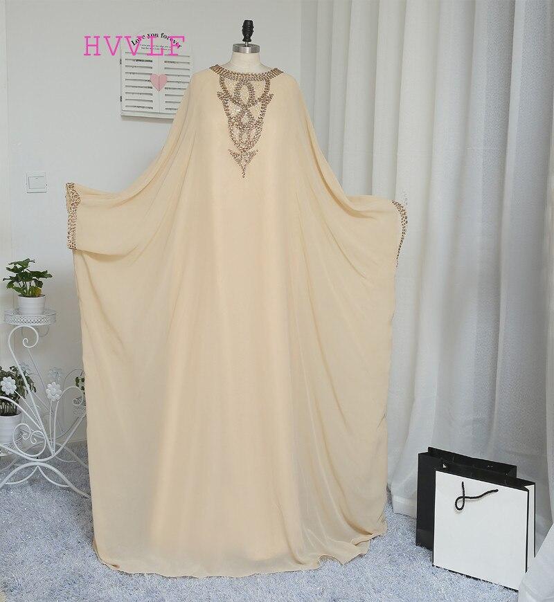 A-line Long Sleeve Champagne Chiffon Crystal Muslim Evening Dresses Islamic Dubai Abaya Kaftan Long Evening Gown Prom Dress