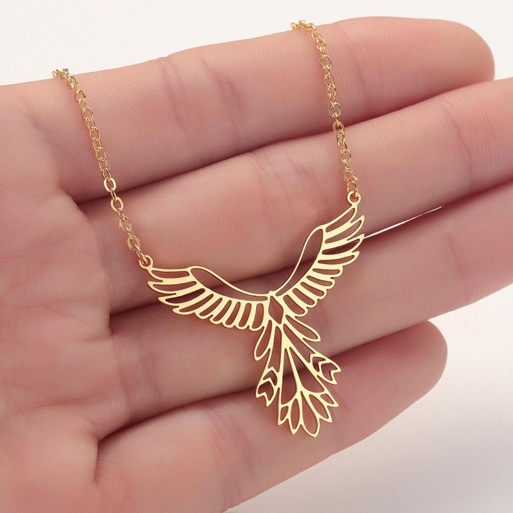 CHENGXUN delicado collar con colgante de Fénix hueco para mujeres y niñas, collar de acero inoxidable, joyería elegante, regalo inspirador