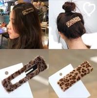 earofcorn simple net red leopard hair furry hair clip bb clip word clip female hair accessories side clip