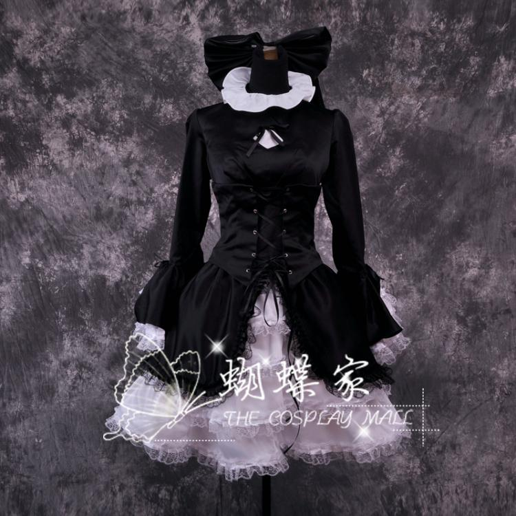 Anime destino/HELLOW negro SABER vestido Lolita criada Cosplay traje hecho a la medida