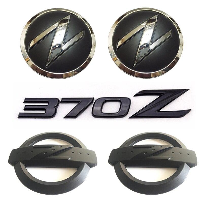 1 Juego (5x) negro 3D 370 Z símbolo cuerpo del coche delantero trasero logotipo lateral insignias adhesivas para 370Z Fairlady Z Z34