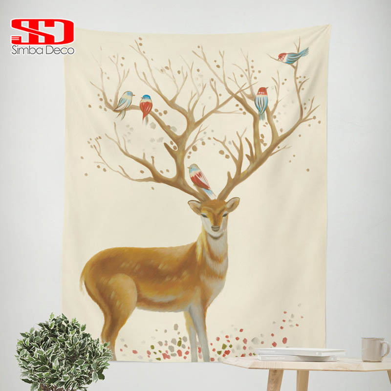 Tapiz de pared de renos de Navidad, colgadores de pared de animales, arte de pájaros, ciervos Hippie, sábanas cubrecama, decoración de fiesta en casa, 150cm x 215cm
