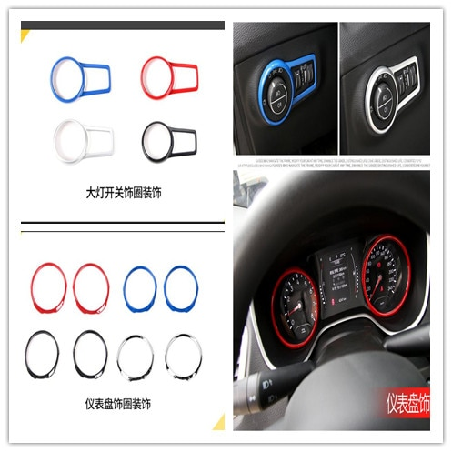 ABS cromado interruptor de faro Interior del coche protector circular cubierta embellecedora pegatina para Jeep Compass 2017 2018 Accesorios