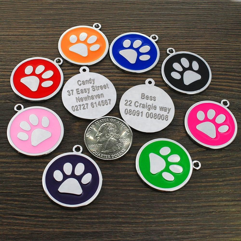 Venta al por mayor de etiquetas de identificación de perro pata para gato perro personalizado mascota cachorro gato etiqueta Collar personalizado Collar COLGANTE accesorios 8 colores