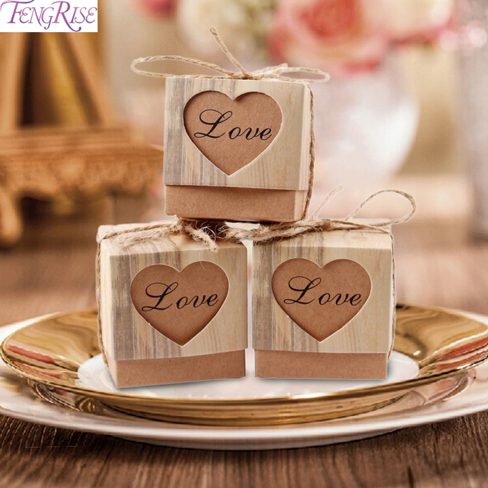 AliExpress - FENGRISE 50PCS Wedding Favor Boxes For Guests Kraft Box With Rustic Burlap Twine Boxes Sweets Wedding Decoration Supply Gift Box