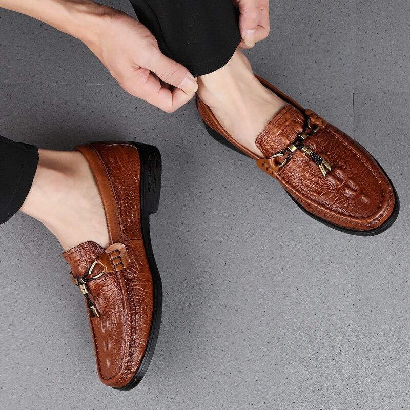 Rommedal Man Genuine Cow Leather Casual Shoes Crocodile Skin Soft Moccasins Anti-Slip Flat Loafers Drive Erkek Ayakkabi