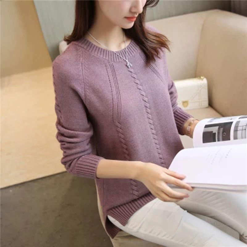 2018 nuevas mujeres primavera otoño cuello redondo suéter suelto estilo coreano mujer de manga larga suave suéter de punto Tops F265