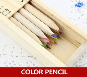 12pcs / lot , wooden colorful pencil drawing set, packed by wooden pencil case , the case cover can be used as a ruler