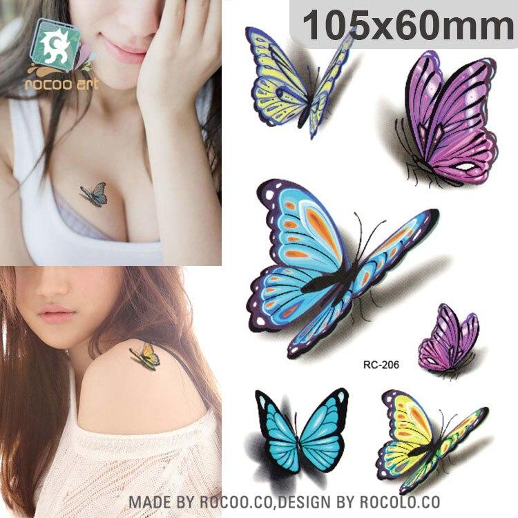 Rocooart, manga de tatuajes falsos de mariposa colorida, Tatuaje 3D para mujeres, Tatuaje temporal a prueba de agua, Tatuaje adhesivo para hombro, tobillo, brazos