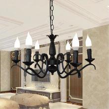 Mode neue schwarz led Kronleuchter led lampen hohe qualität eisen Kronleuchter wohnzimmer E14 led lustre licht Kronleuchter Z50