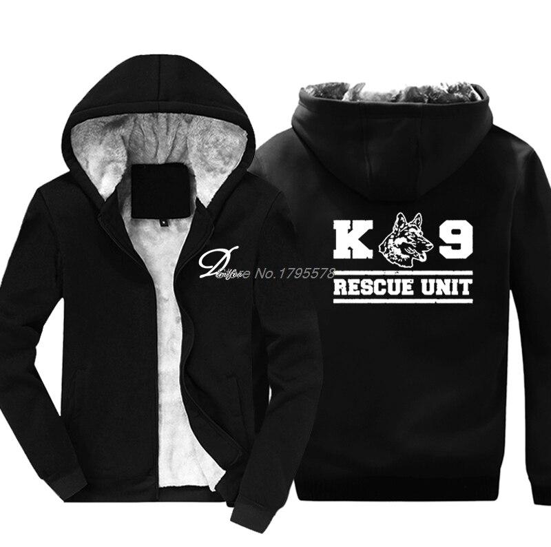 Nueva sudadera informal de moda con capucha para hombre K9, Unidad de rescate, sudadera de seguridad, Pastor Alemán, bombero, policía, militar, FBI, CIA, chaqueta con capucha