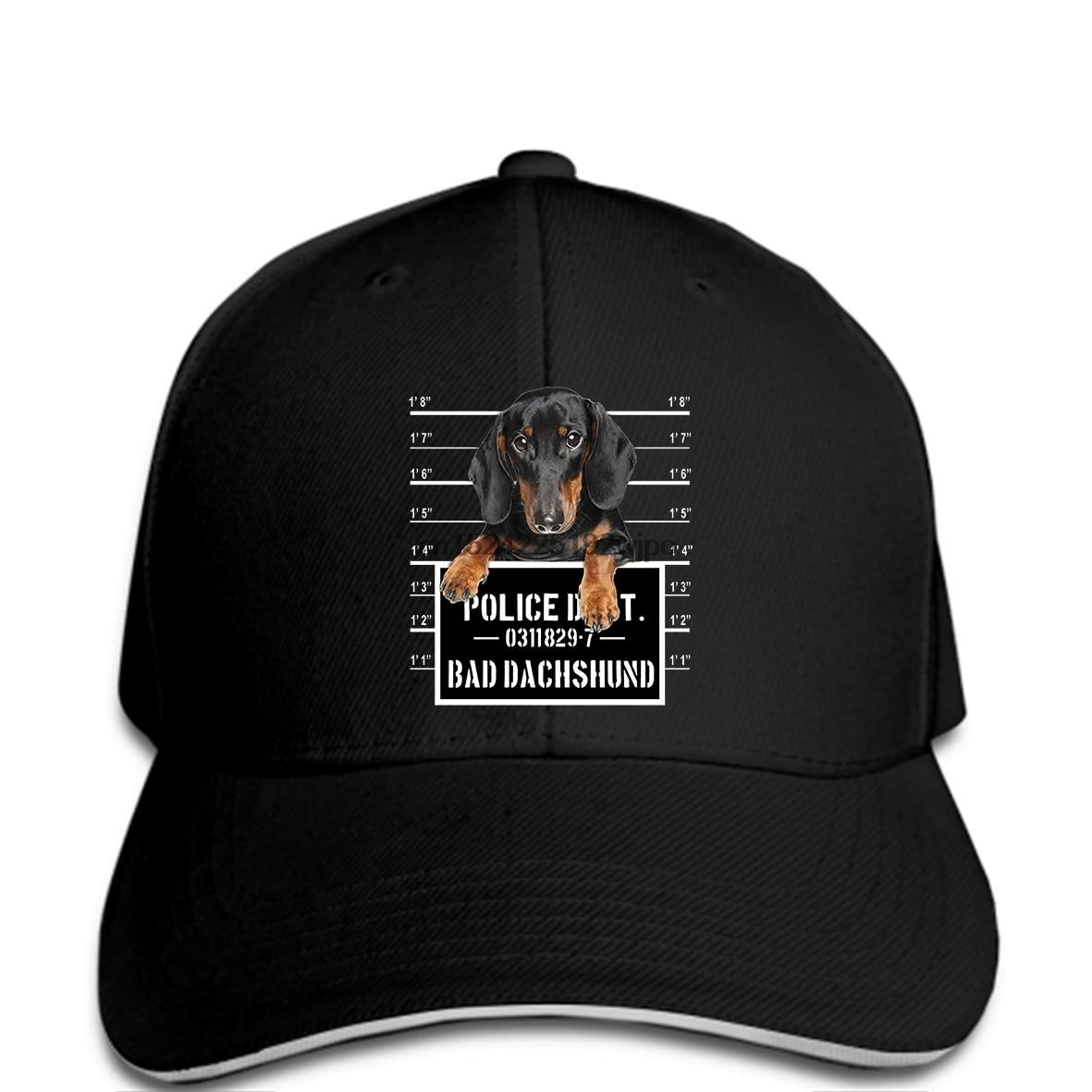 Divertido gorras de béisbol divertido Bad Dachshund negro Wiener Dog Jail taza Shot Mens cap