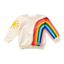 Rainbow Hoodies Baby girl tassel Pullover Hoodies Children Boy Long Sleeve Cotton Sweatshirts Casual Hoodies kids hoodies