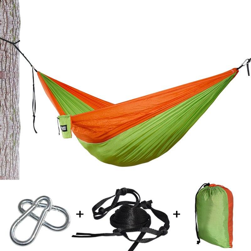 Peso ligero portátil hamaca de Nylon de paracaídas con árbol correas dormir árbol cama Nylon portátil ultraligero colgando Hamak Doble