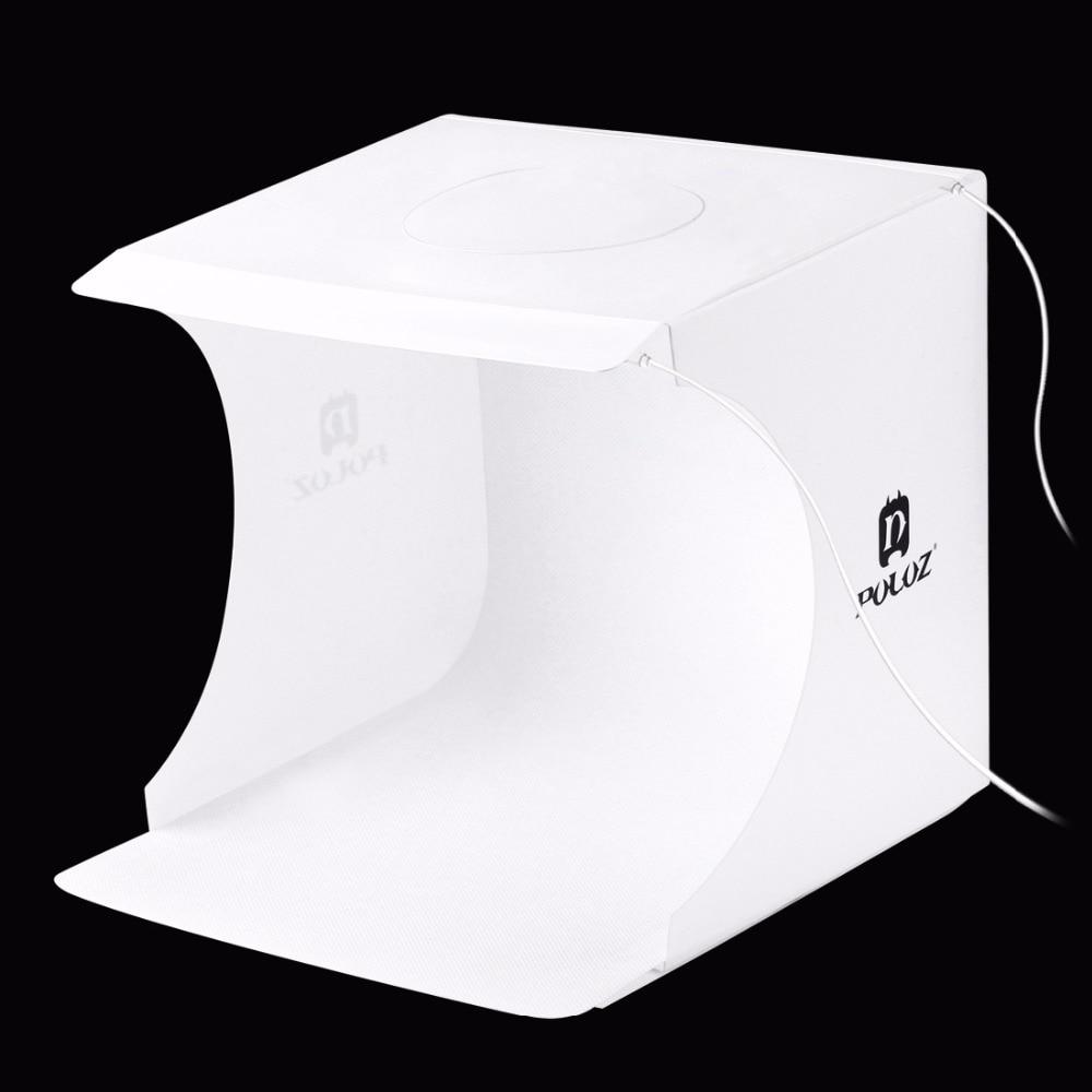 PULUZ תמונה תיבת Lightbox מיני softbox 2 LED תמונה סטודיו מתקפל אור תיבת חדר רקע צילום תיבת אור Softbox אוהל ערכת