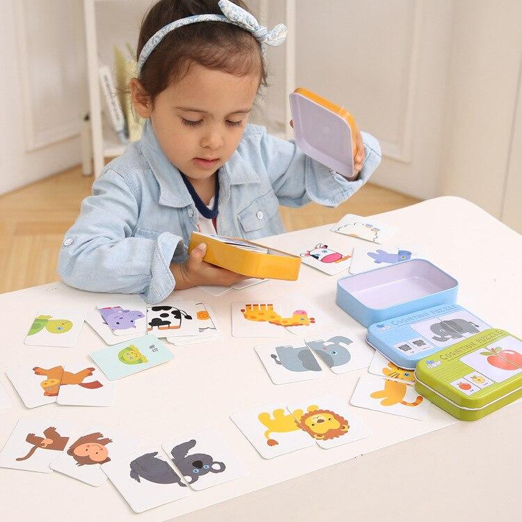 Boys Pocket Flash Card Girls Graph Match Game Kids Early Educational Montessori Toys Puzzle Card Cartoon Animal Designs MG09