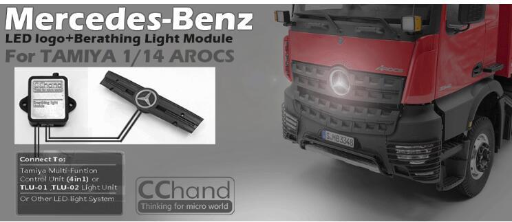 LED AROCS luminous vehicle lighting logo For 1/14 1/10 RC BENZ Actros Body4x4 6x6 8x8Tractor 56352 56357 3363 HRAXXAS TRX4 SCX10