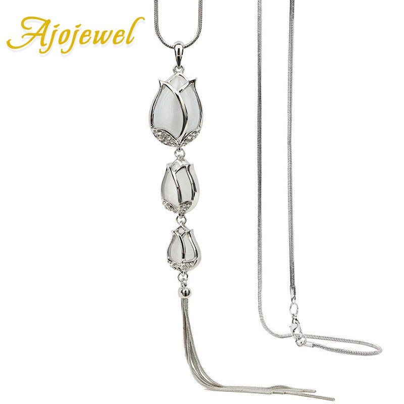 Jojewel shinning opala tulipa camisola colar jóias das senhoras do vintage corrente longo pingente acessórios presentes