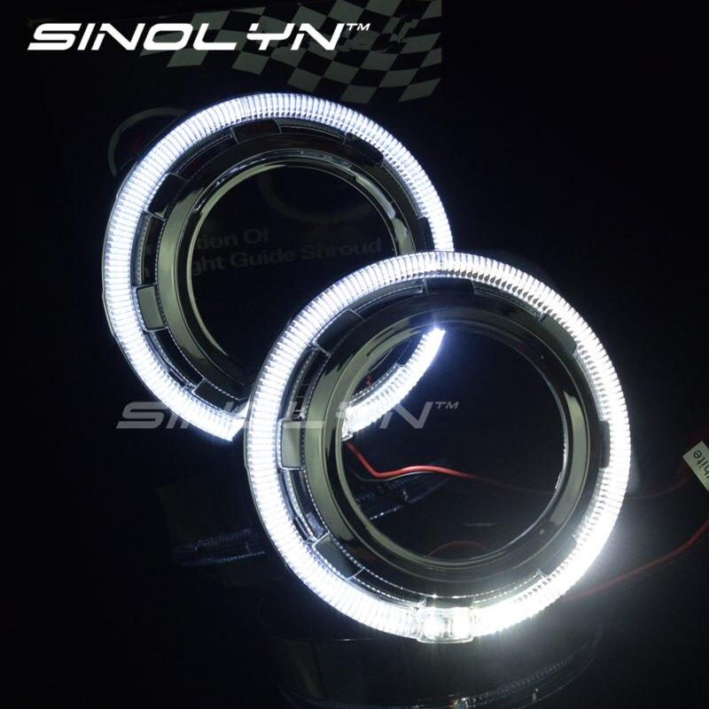 Светодиодный прожектор Sinolyn Angel Eyes Mask для Hella 3R G5/Koito Q5/WST линзы для фар тюнинг Автомобильные фары аксессуары