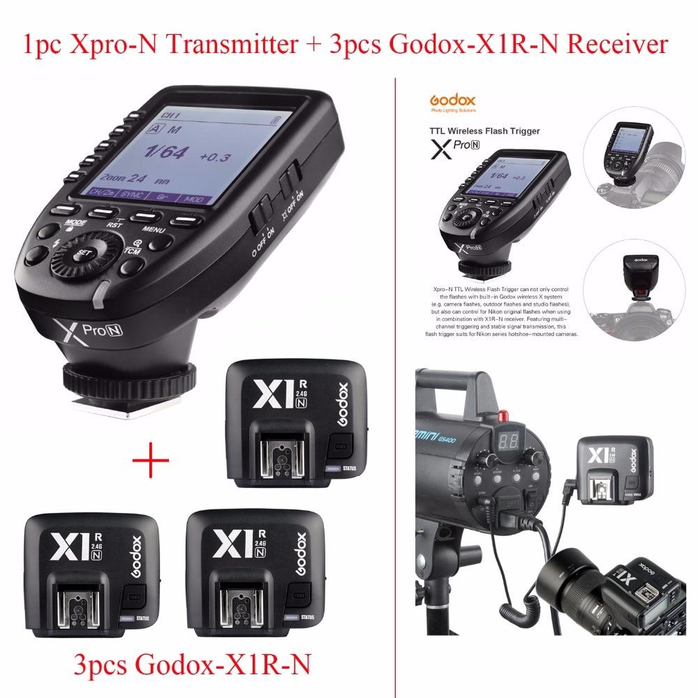 Godox Xpro N TTL 2.4G Kablosuz 1/8000 s HSS Nikon DSLR için Flaş Tetik, 1 adet Godox Xpro N Verici + 3 adet Godox-X1R-N Alıcı
