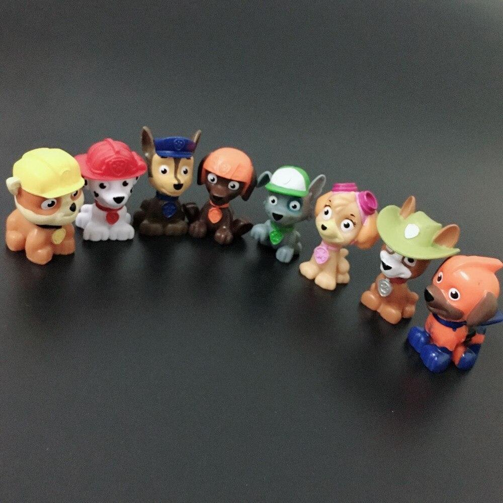 (? Unids/lote 00) Figuras de perro de dibujos animados para equipo de perros mini animales 4-5cm mezcla al azar