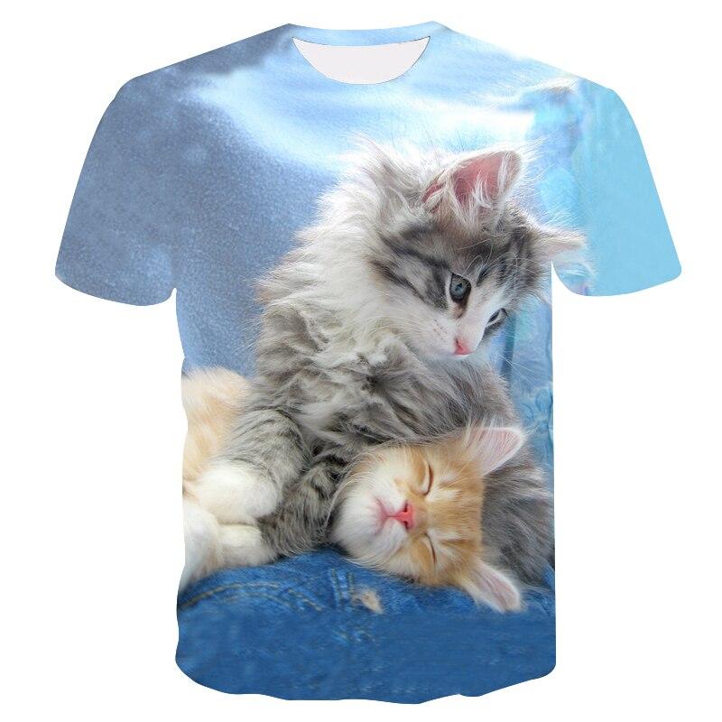 Love Cats 2019 nueva camiseta de moda para hombres/mujeres, camiseta 3d con estampado de dos gatos encantadores, camisetas de verano de manga corta, camiseta para hombre M-5XL