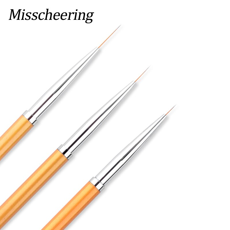 3 pièces/ensemble or métal poignée Nail Art brosse pour dessin lignes 3D peinture stylo UV Gel Salon bricolage conception ongles conseils décorations outils