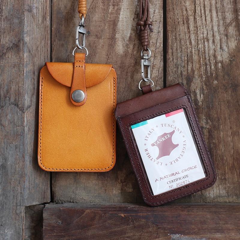 Alisara جلد طبيعي شارة حامل حقيبة الأعمال جلد البقر العلوي العمودي ID شارة حالة قابل للسحب طالب حافلة بطاقة حالة الحبل