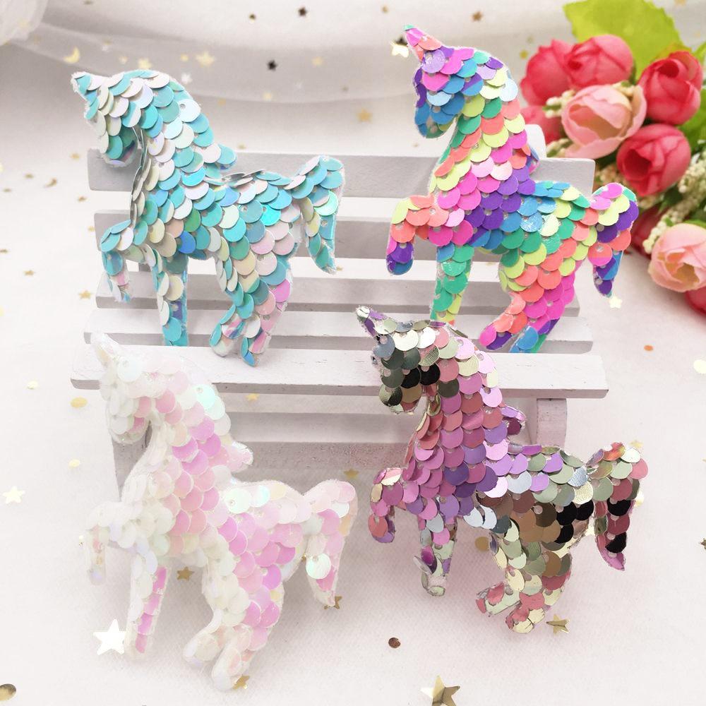 Colorido brillo pez escala lentejuelas acolchado tela unicornio apliques hacer niños Clip accesorios DIY manualidades suministros