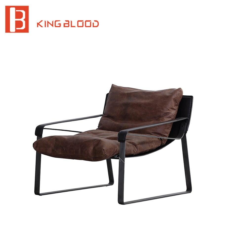 كرسي تنجيد من جلد البولي يوريثان الناعم مع الشمع الزيتي ، كرسي بذراعين بتصميم حديث للترفيه ، كرسي بذراعين لغرفة المعيشة