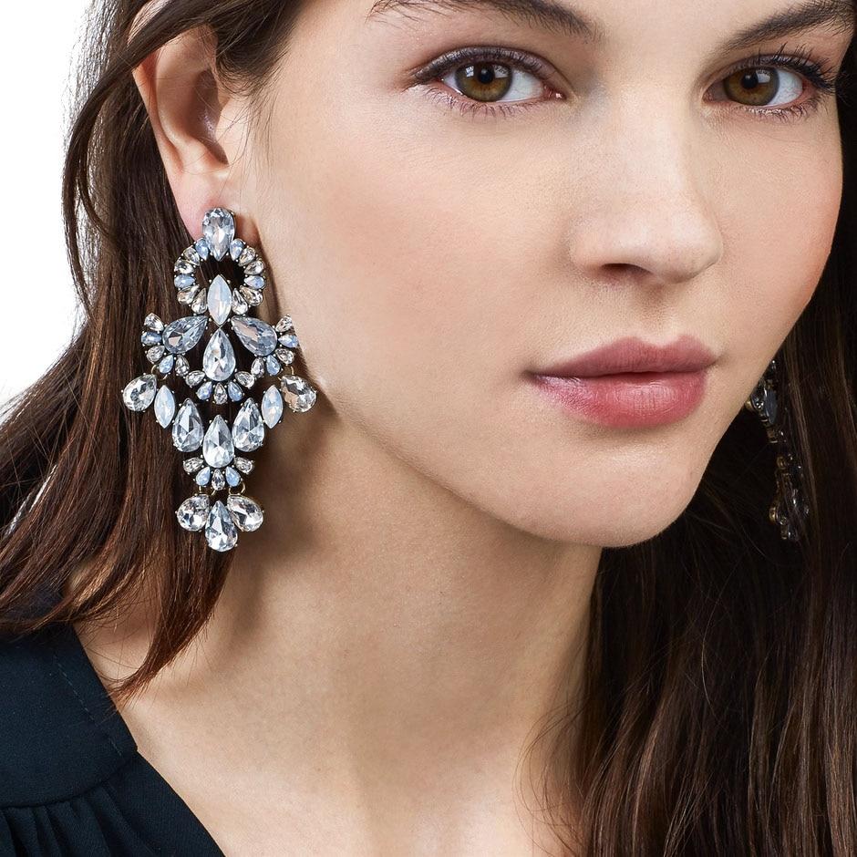 JUJIA joyería de moda de declaración de cristal bohemio Rhinestone pendientes gota larga cuelga los pendientes para las mujeres Brincos