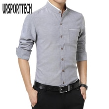 Plus Size M-5XL Cotton Men Shirt New 2020 Stand Collar Casual Male Shirt Slim Fit Mens Dress Shirts Long-Sleeve Camisa Hombre