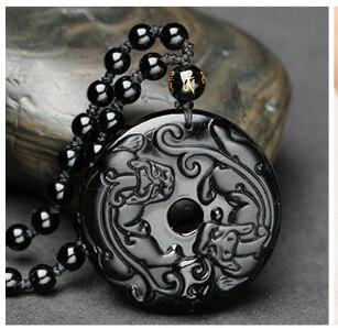 Alta calidad Natural negro obsidiana tallada a mano Gecko dragón amuleto de la suerte colgante collar de moda fina joyería buen regalo